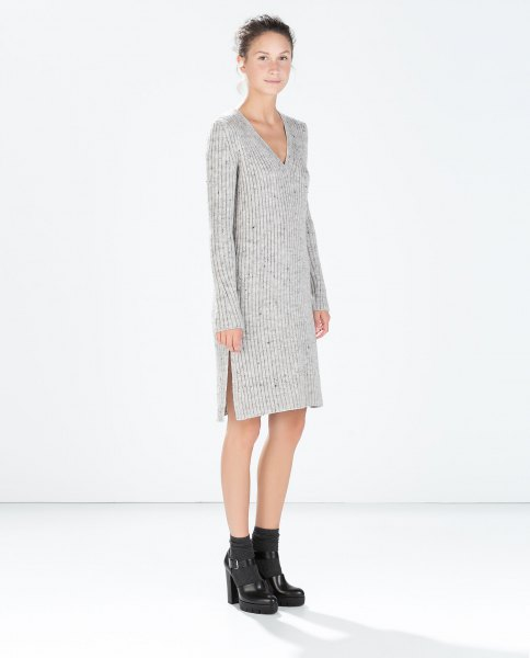grey v neck knit sweater dress