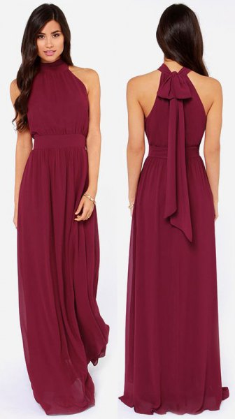 halter empire waist chiffon long dress