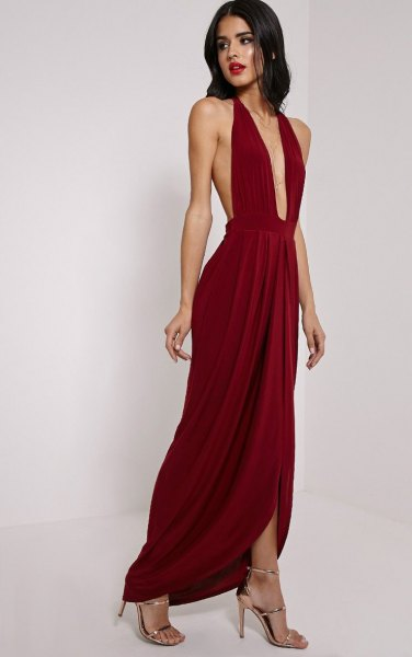 halterneck deep v neck pleated maxi dress
