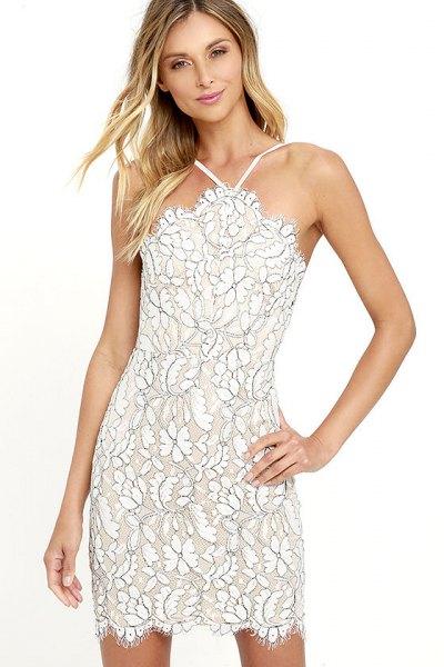 halterneck floral bodycon dress