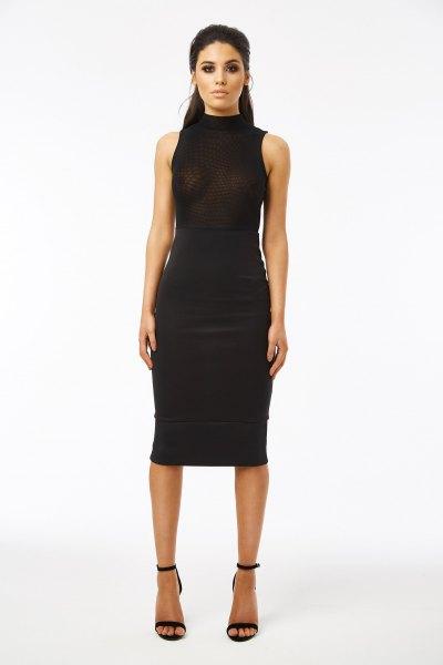 high neck black midi dress mesh overlay