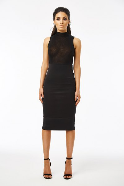 high neck black midi dress mesh overlay