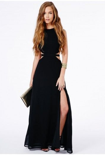 high split maxi dress gold clutch bag