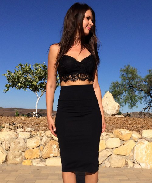 high waisted black pencil skirt