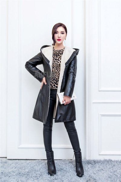 hooded black long leather jacket cheetah top