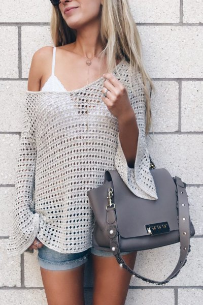 ivory crochet one shoulder sweater white lace bralette