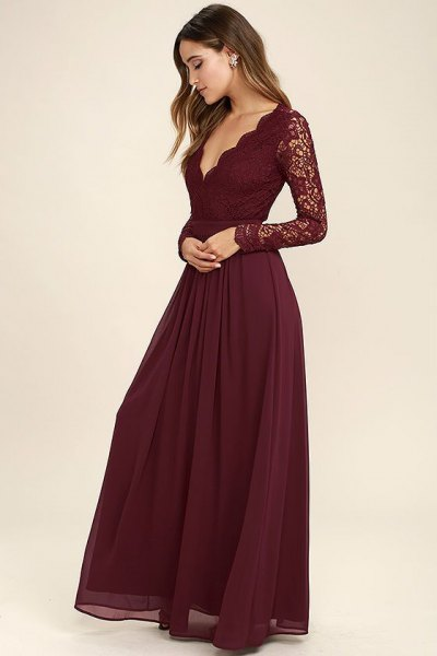 lace sleeve scalloped deep v neck chiffon dress