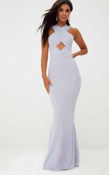 light blue criss cross neck maxi dress