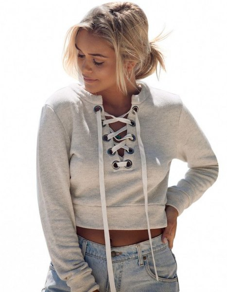 light grey lace up cropped hoodie jeans