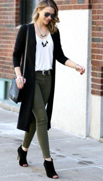 long black cardigan white vest top green skinny jeans