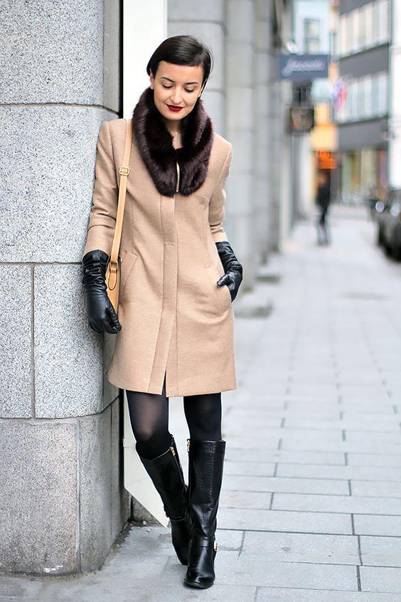 long black gloves camel coat