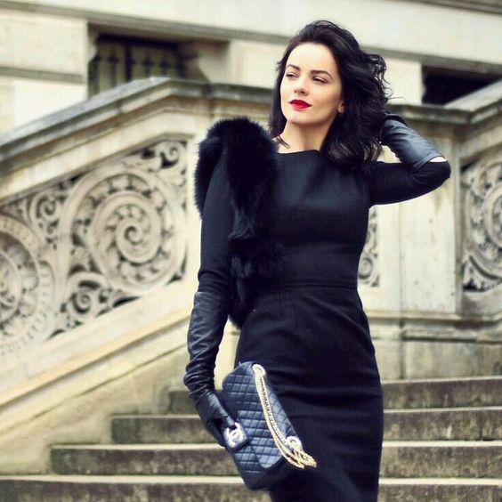 long black gloves little black dress