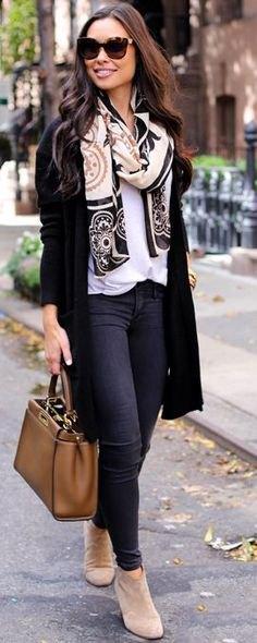 long cardigan white blouse tribal printed wool scarf