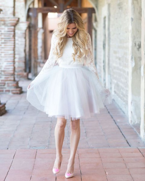 long sleeve belted lace and chiffon tulle dress