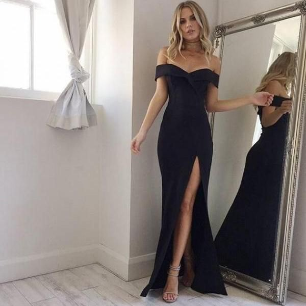 maxi high split black dress
