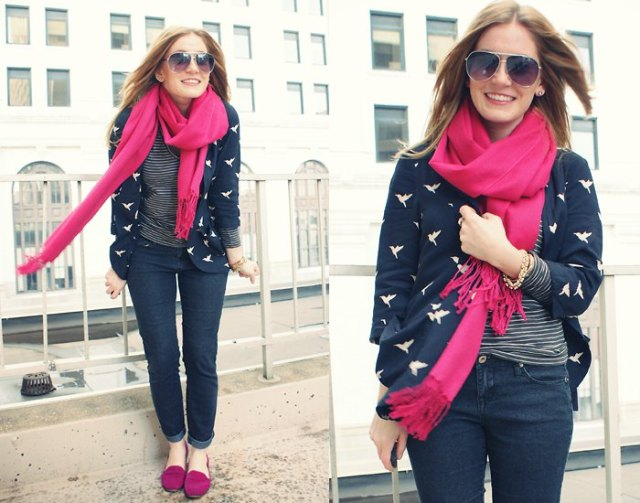 navy and pink blazer dark blue jeans
