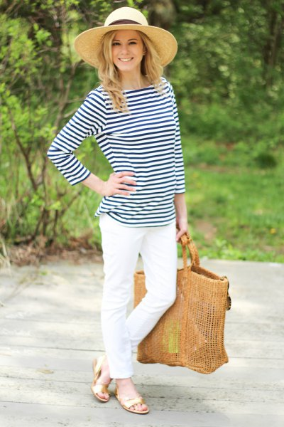 navy and white striped tee white jeans