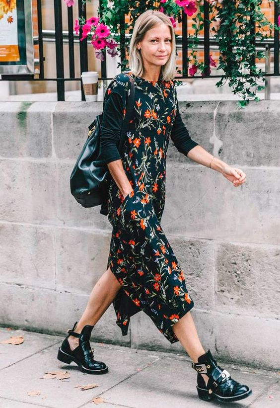 navy floral dress cut out boots
