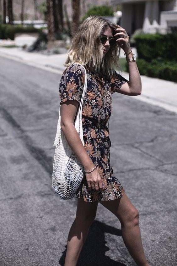 navy floral dress fishnet bag