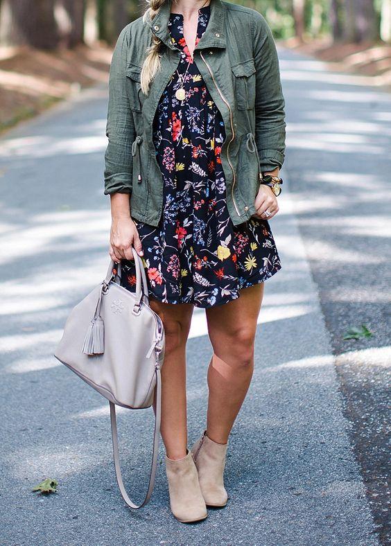 navy floral dress military jacket