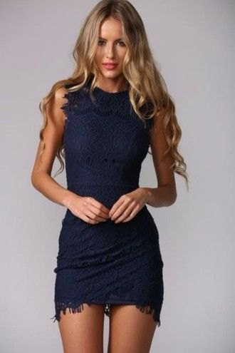 navy fringe bodycon mini dress