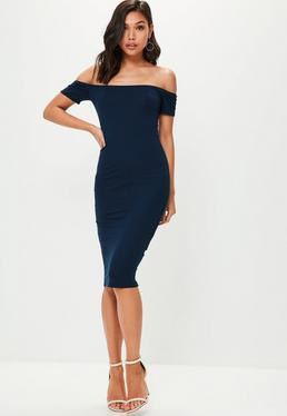 navy off shoulder midi dress white open toe heels