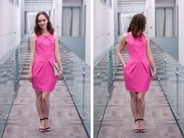 neon pink tie waist knee length dress