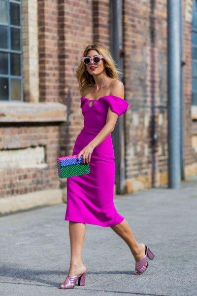 off the shoulder neon pink bodycon midi dress