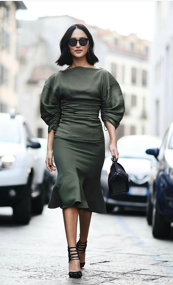 olive green dress puff sleeves