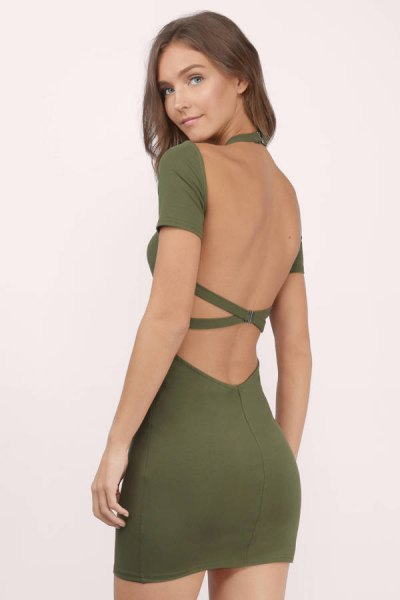 olive green backless bodycon dress