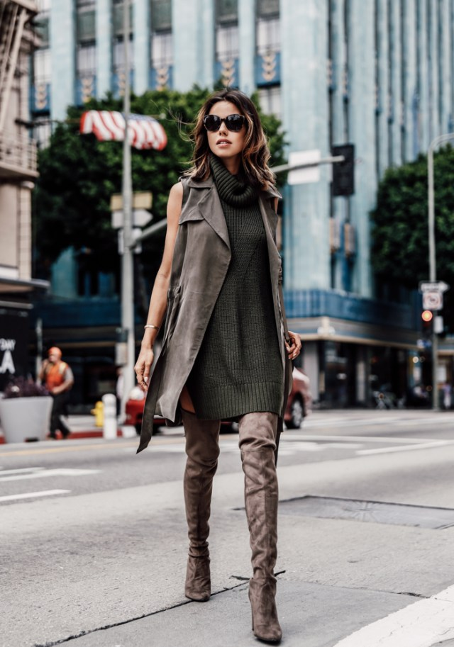 olive green dress knit