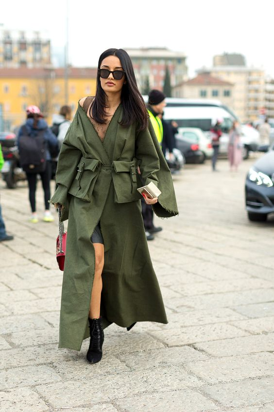 olive green dress trench coat