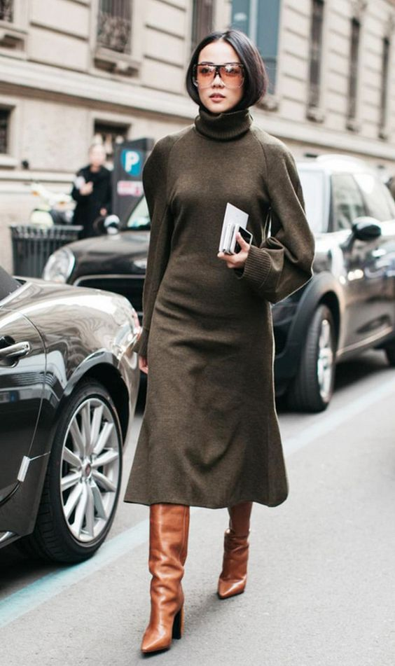olive green dress woolen knit