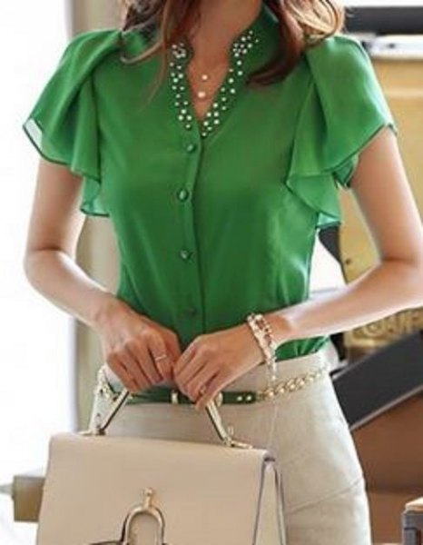 olive green flutter sleeve button up blouse