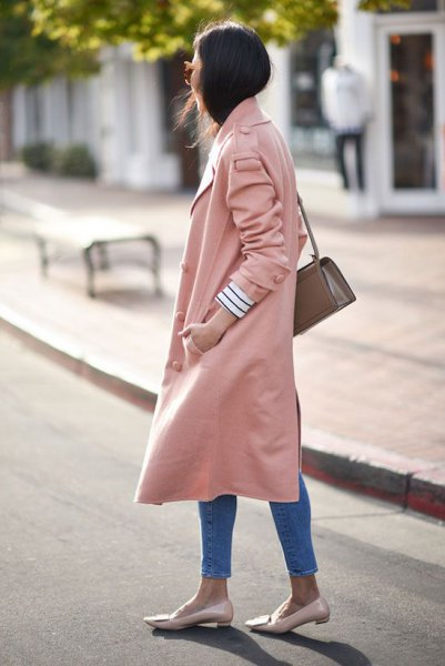 pale pink long trench coat loafers same color