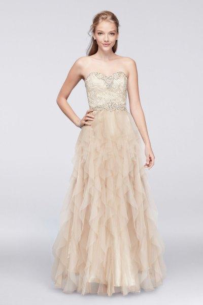 pale pink strapless ruffle maxi dress