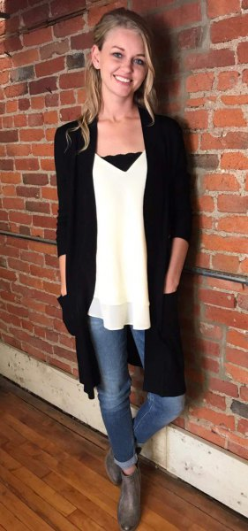 how to style long black cardigan top 15 outfit ideas