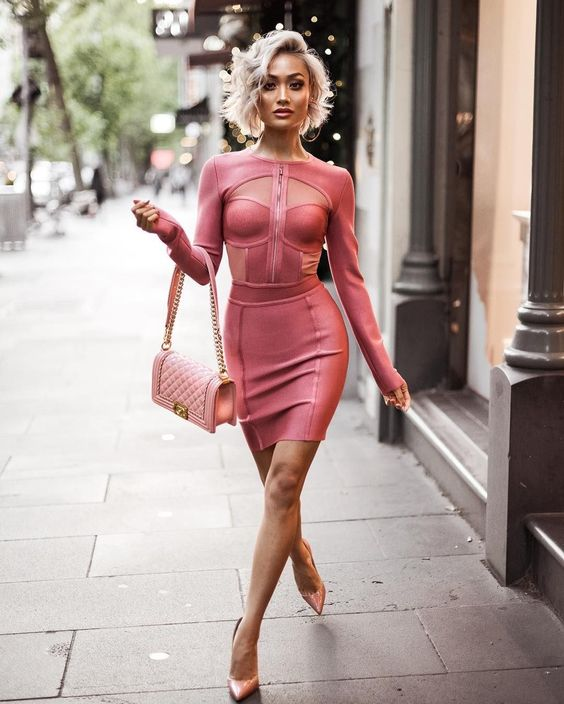 pink bandage dress cutout