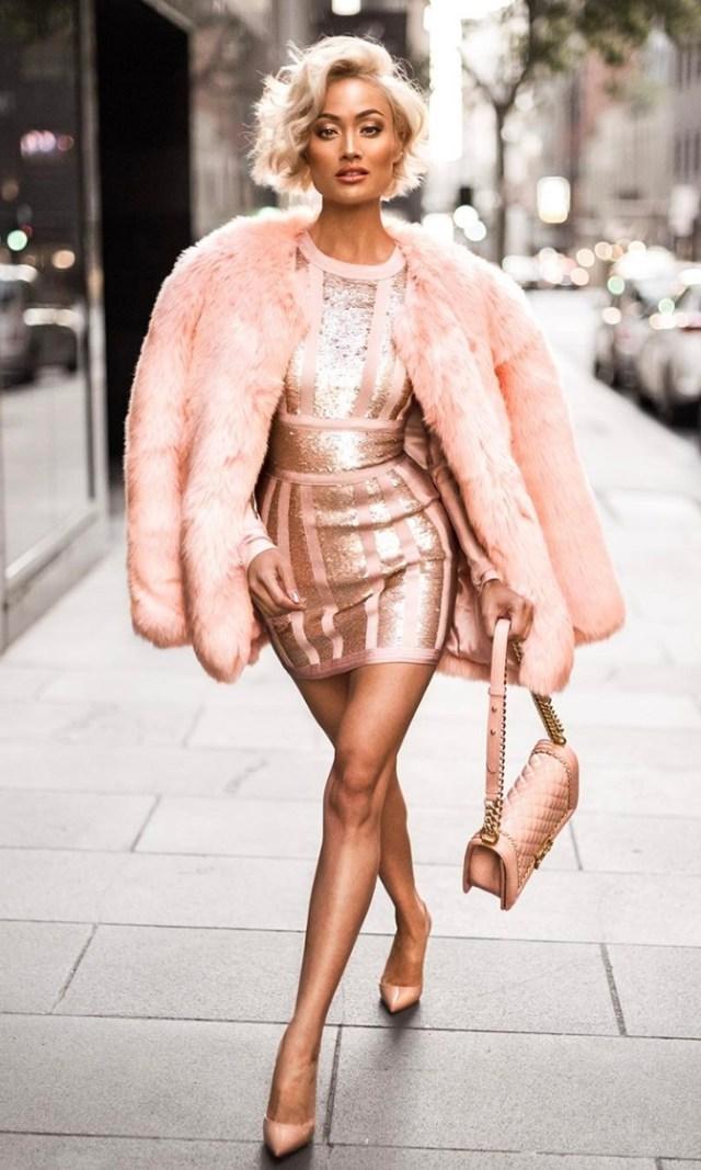 pink bandages dress sequins