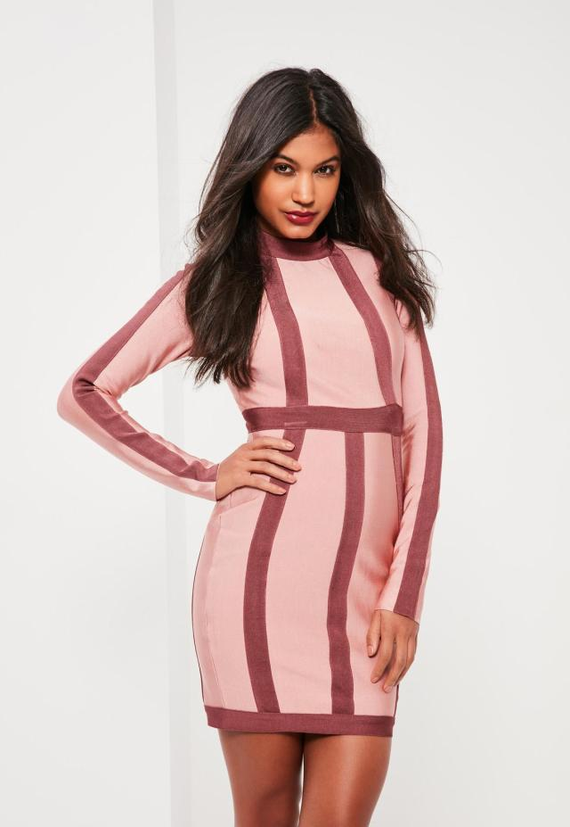 pink bandage dress stripes