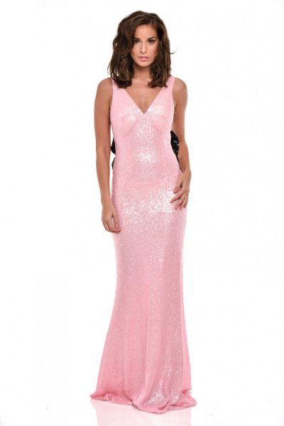 pink sequin flowy fishtail dress