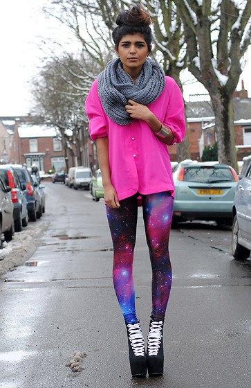 purple galaxy leggings shocking pink blouse