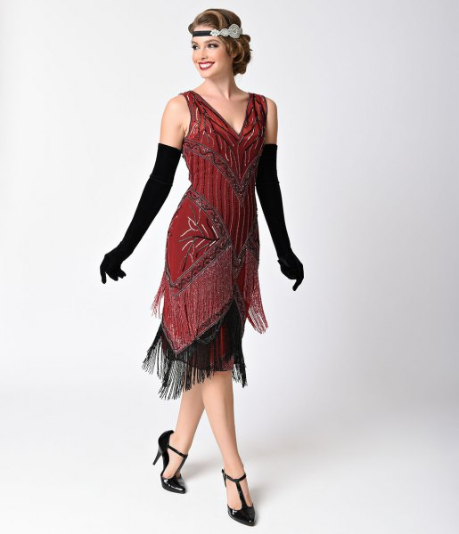 red and black fringe dress