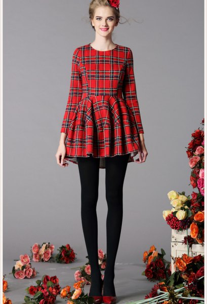 red and black plaid fit and flare dress