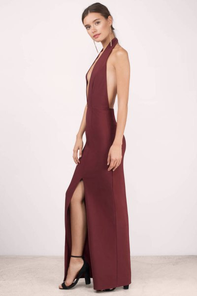 red backless deep v neck long dress