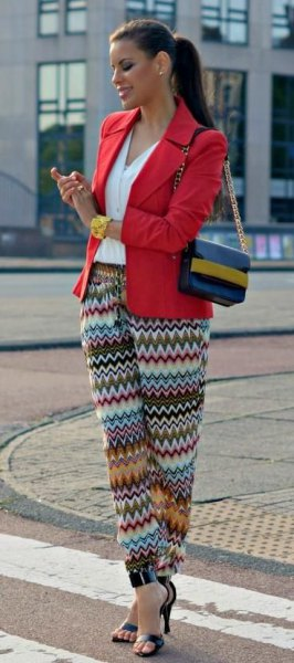 red blazer colorful tribal pants