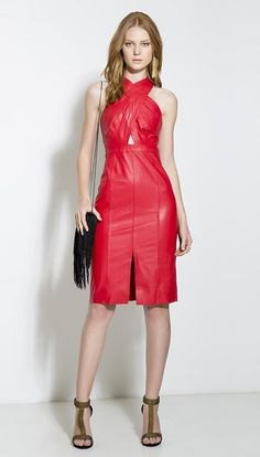 red criss cross front leather dress