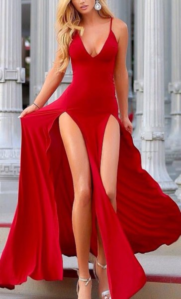 red deep v neck double slit flowy dress