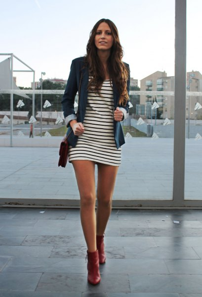 red leather ankle boots striped t shirt dress