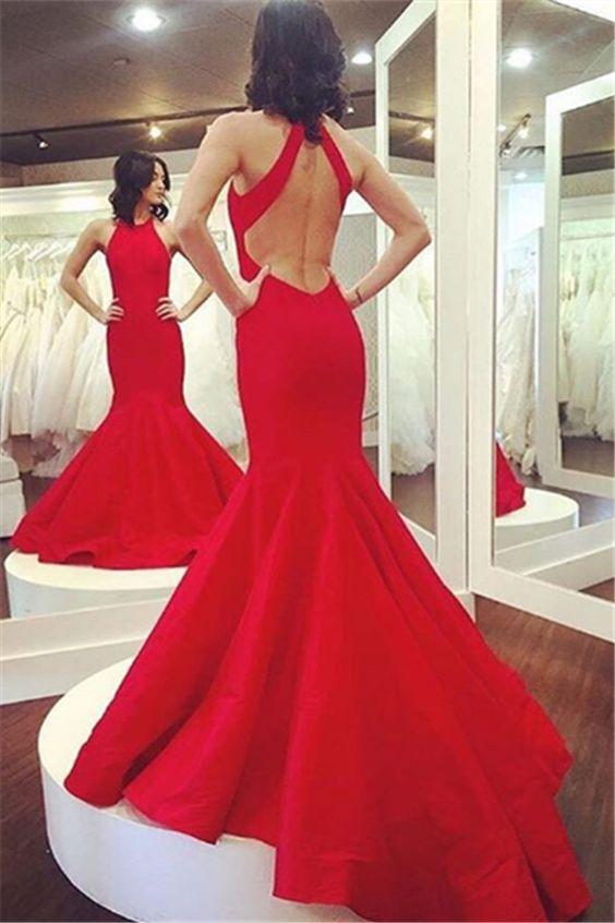 red mermaid dress open back